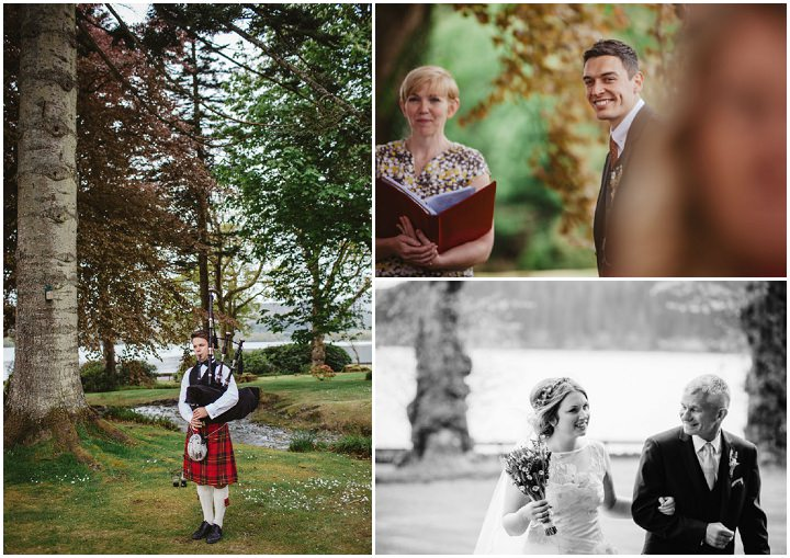 Scottish groom sees bride Wedding with a Claire Pettibone dress By Christopher Currie