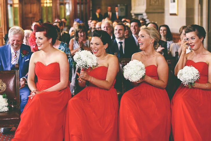 Modern Manchester bridesmaids in red Town Hall Wedding by Emma Boileau