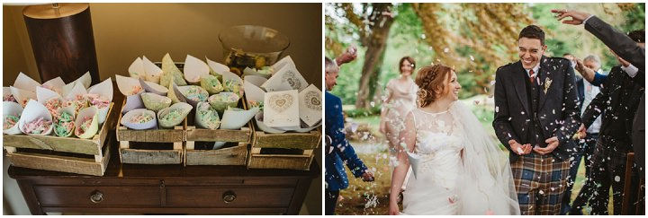 Scottish confetti Wedding with a Claire Pettibone dress By Christopher Currie