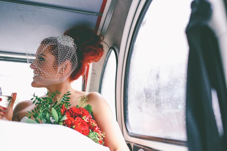 Modern Manchester bride wearing birdcage Town Hall Wedding by Emma Boileau