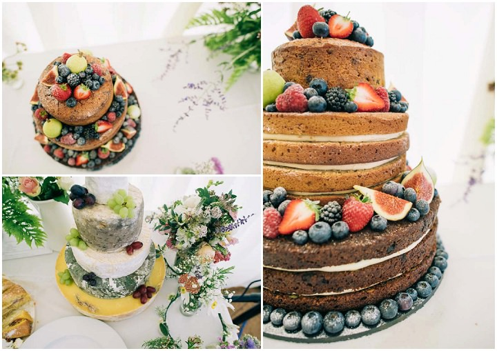 Naked Wedding cake at The Haymeadow in Somerset by This and That Photography