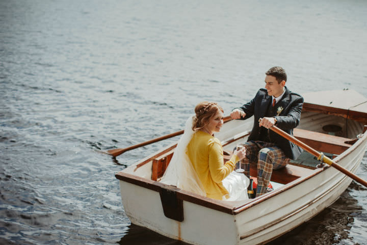 Scottish rowing boat Wedding with a Claire Pettibone dress By Christopher Currie