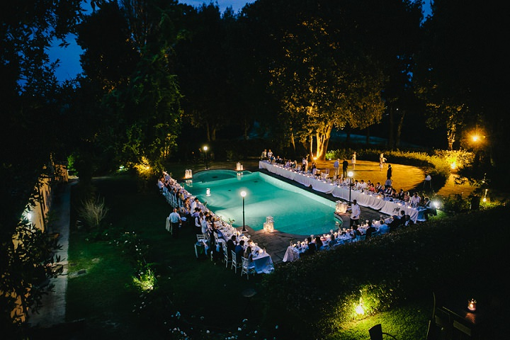 Tuscany swimming pool Wedding By Helen Abraham Photography