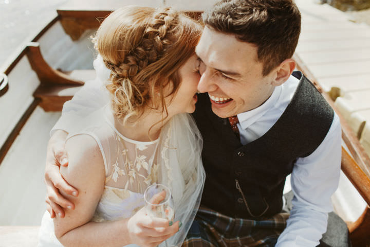 Scottish couple in love Wedding with a Claire Pettibone dress By Christopher Currie