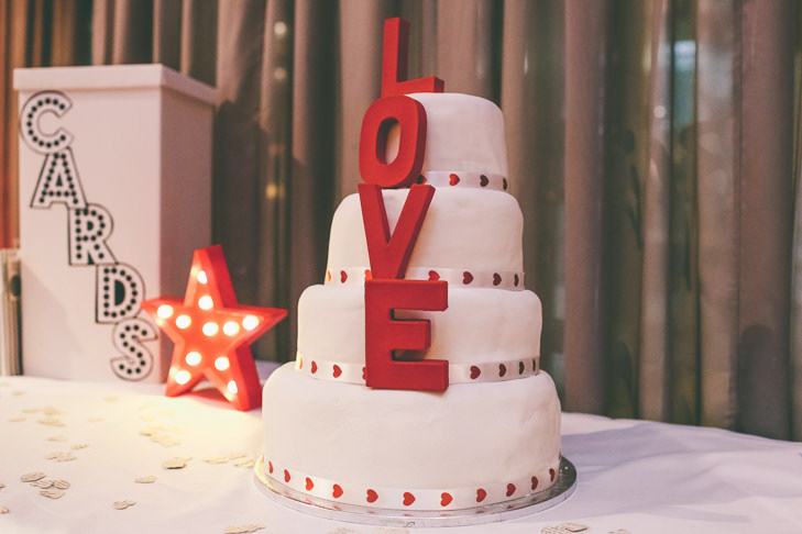 Modern Manchester love cake Town Hall Wedding by Emma Boileau