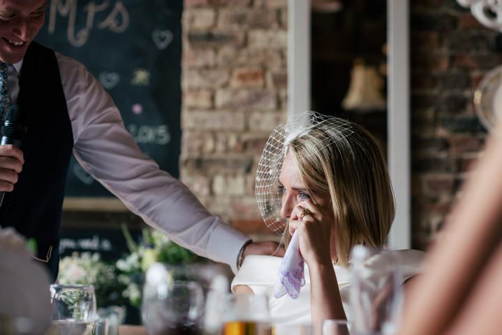 Yorkshire Barmbyfield bride crying Barns Wedding By Stott and Atkinson