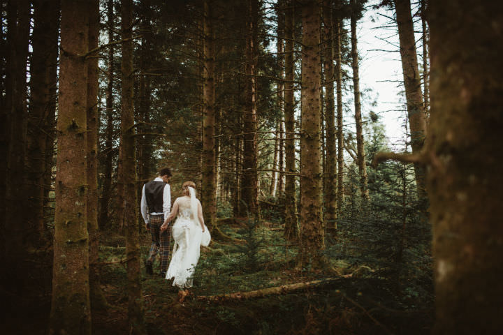 Scottish wood Wedding with a Claire Pettibone dress By Christopher Currie
