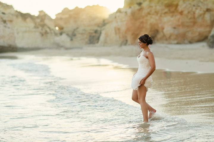 Portugal Wedding bride on the beach in the Algarve By Matt and Lena Photography