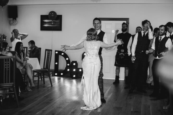 Scottish first dance Wedding with a Claire Pettibone dress By Christopher Currie