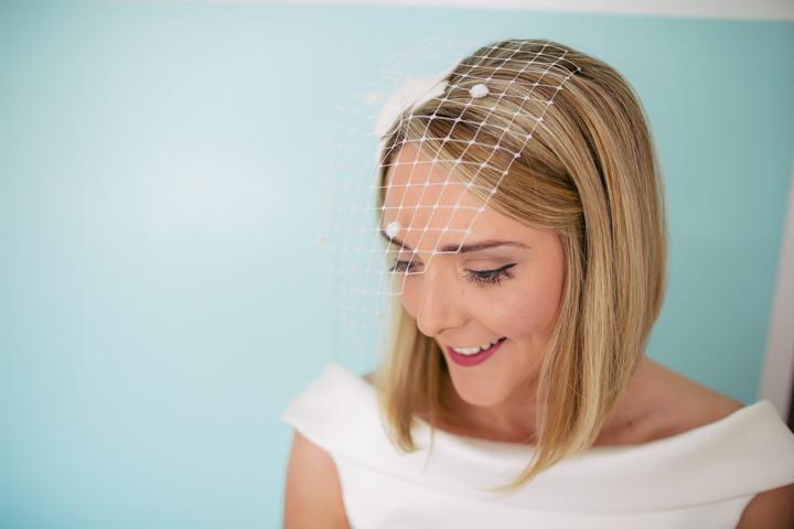 Yorkshire Barmbyfield Barns birdcage veil Wedding By Stott and Atkinson