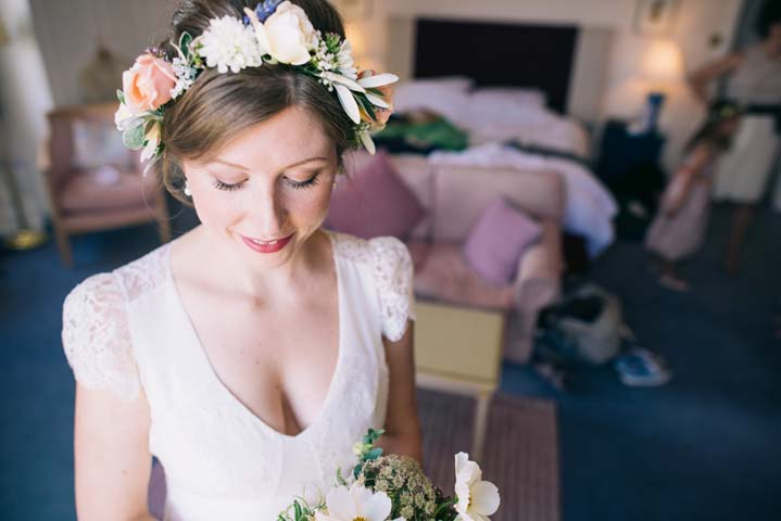 Wedding at The Haymeadow in Somerset bride wearing flower crown by This and That Photography