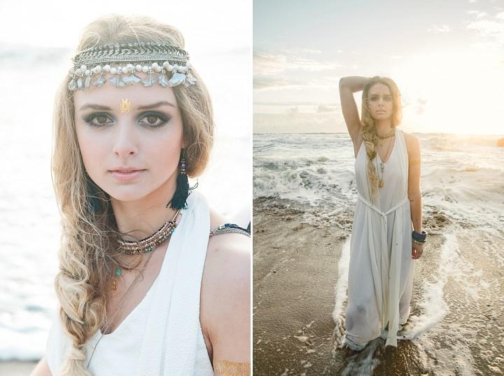 Outdoors Bohemian Hair piece Beach Wedding Inspiration