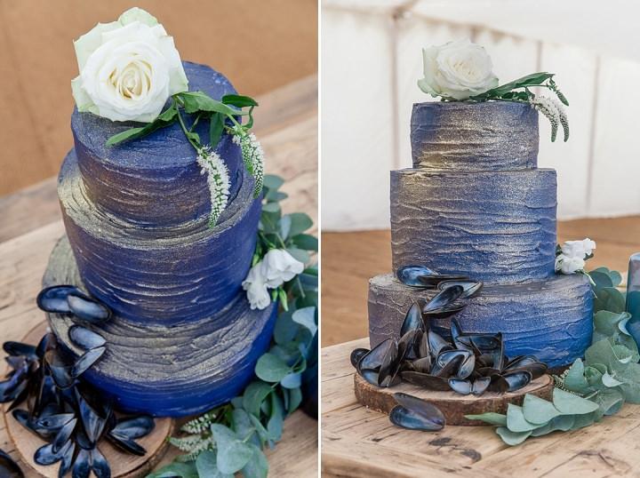 Outdoors Bohemian sparkle cake Beach Wedding Inspiration