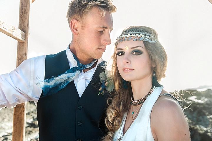 Outdoors Bohemian couple Beach Wedding Inspiration