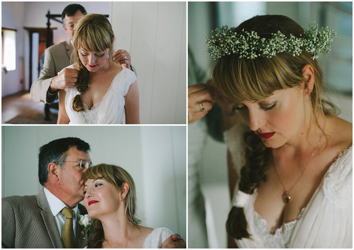 Natural South African Wedding bride wearing flower crown
