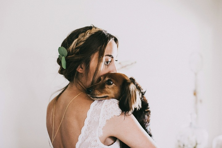 Bohemian Colorado Wedding bride holding dog