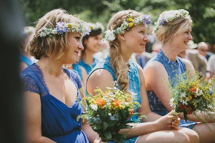 Woodland Wedding bridesmaids at the Clophill Centre By McKinley-Rodgers Photography