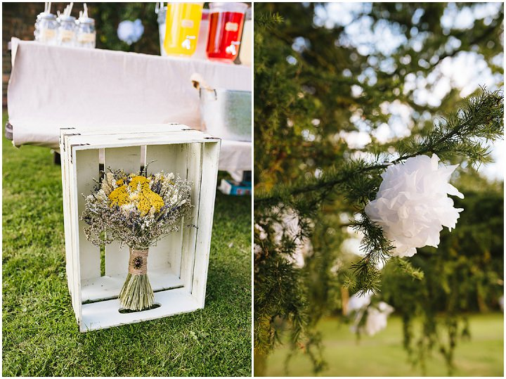 Louise and Sam's Gold and White Outdoors Wedding with an Evening Pool Party at Pine Lodge