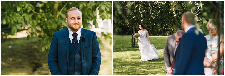 Louise and Sam's Gold and White Outdoors Wedding with an Evening Pool Party groom waiting