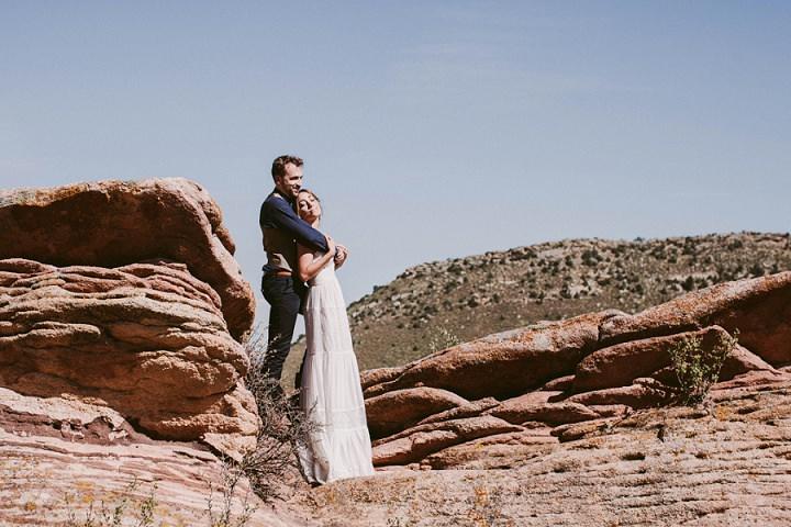 Bohemian Colorado Wedding Bride and groom portraits
