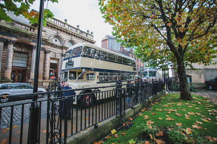 Kelham Island Museum Wedding vintage bus in Sheffield City Centre By Tierney Photography