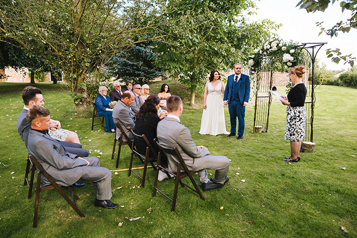 Louise and Sam's Gold and White Outdoors Wedding with an Evening Pool Party with outdoor ceremony