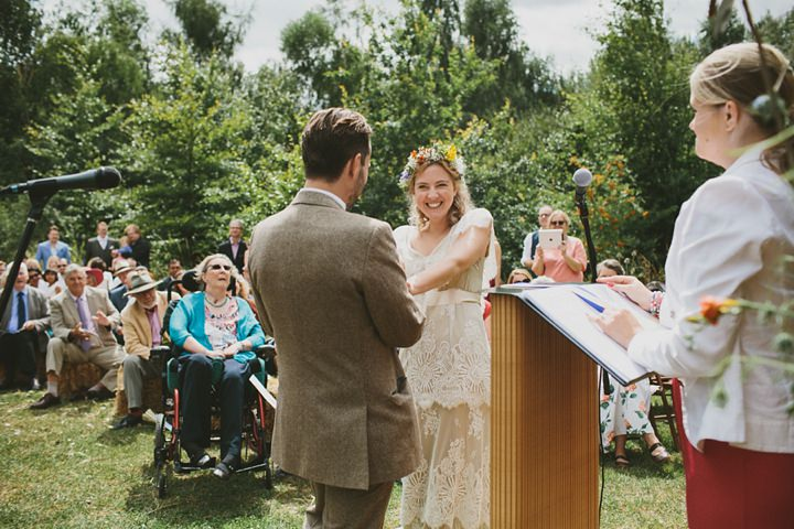 Woodland Wedding ceremony at the Clophill Centre