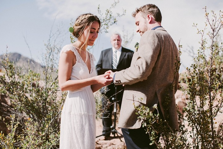 Bohemian Colorado Wedding exchange of rings