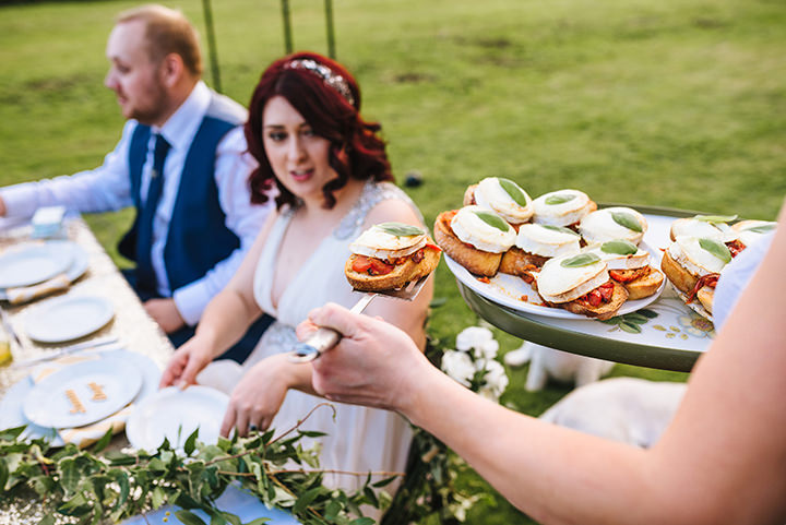 Louise and Sam's Gold and White Outdoors Wedding with an Evening Pool Party wedding food
