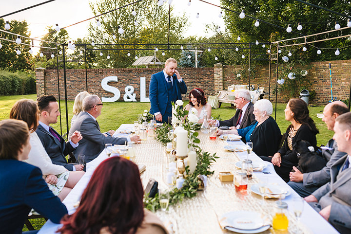 Louise and Sam's Gold and White Outdoors Wedding with an Evening Pool Party Pine Lodge
