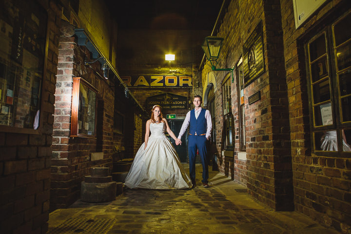 Kelham Island Museum Wedding bride and groom in Sheffield City Centre By Tierney Photography