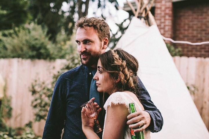 Bohemian Colorado Wedding bride and groom