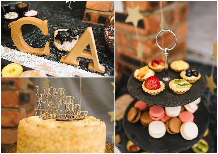 Louise and Sam's Gold and White Outdoors Wedding with an Evening Pool Party cake table