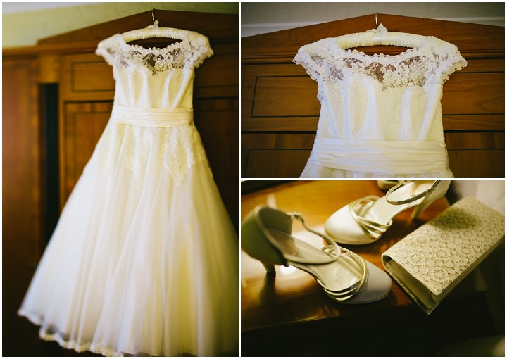 Wedding at Pinewood Studios with tea length wedding dress