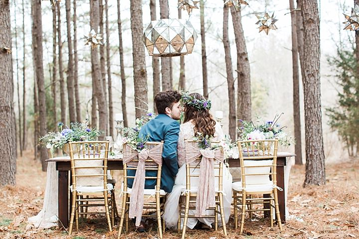 Outdoors Woodland couple kissing Wedding Inspiration