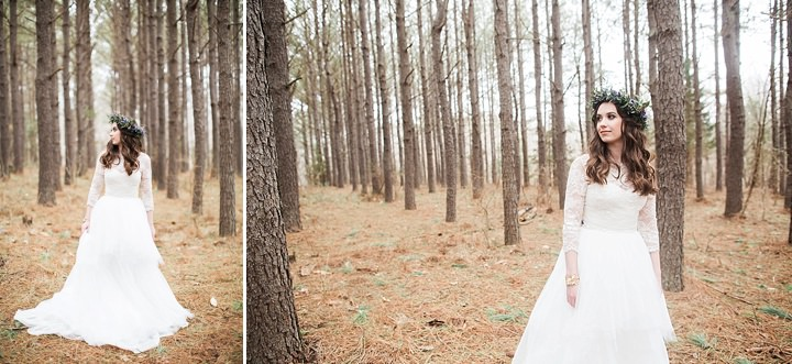 Outdoors Woodland bride in the woods Wedding Inspiration