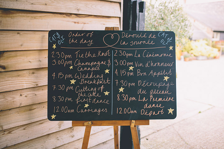 Upwaltham Barns order of the day Wedding in West Sussex By Story and Colour