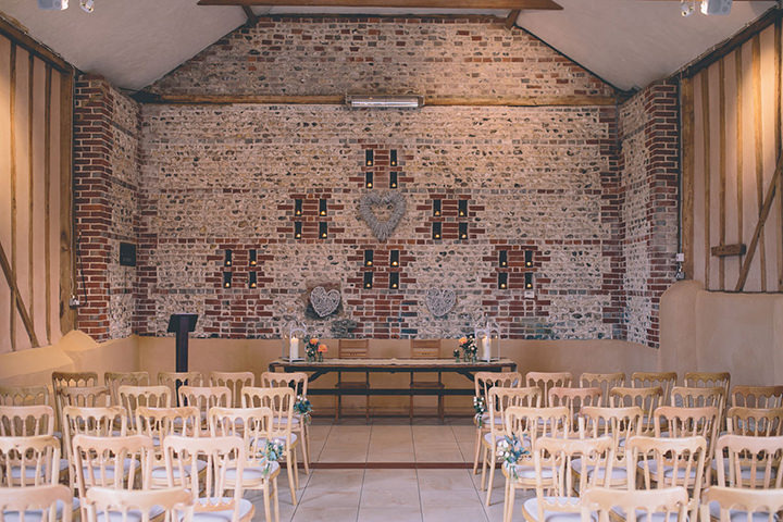 Upwaltham Barns ceremony setting Wedding in West Sussex By Story and Colour