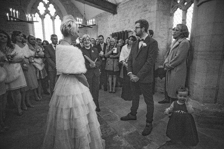 Liz and Nick's Rustic New Years Eve wedding ceremony Farm Wedding