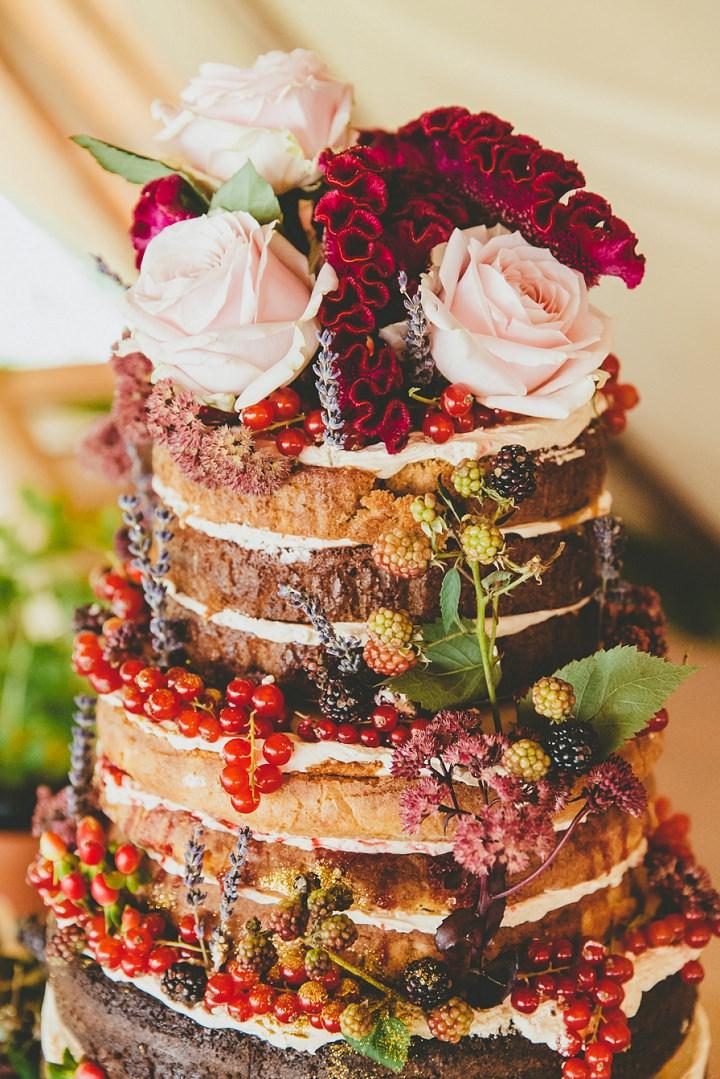 Bohemain Dorset Festival Wedding naked wedding cake By Paul Underhill Photography