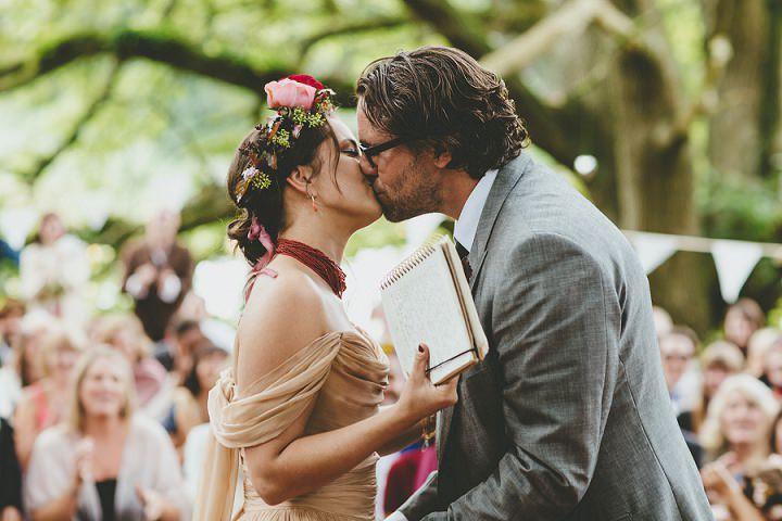 Bohemain Dorset Festival first kiss Wedding By Paul Underhill Photography