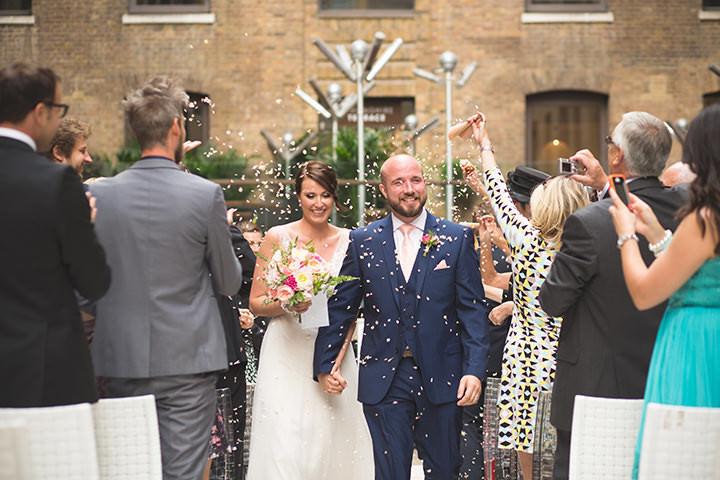 Modern London Wedding confetti By Chris Blackledge Photography