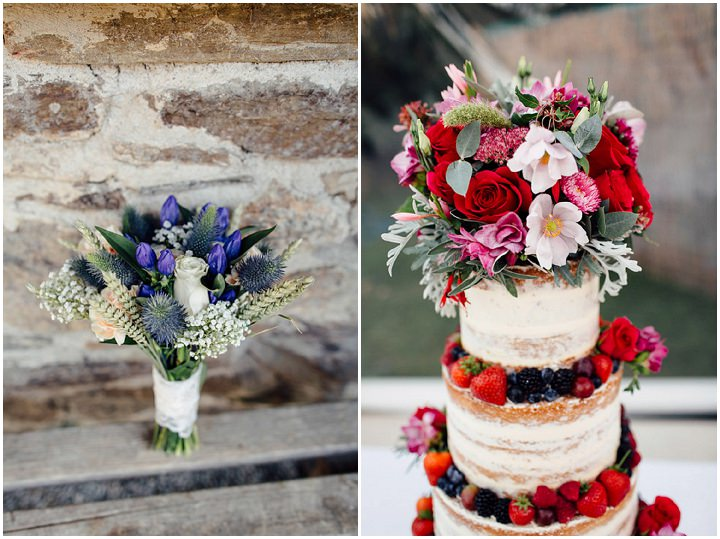 Wedding at Kilminorth Cottages cake and flowers in Looe By Freckle Photography