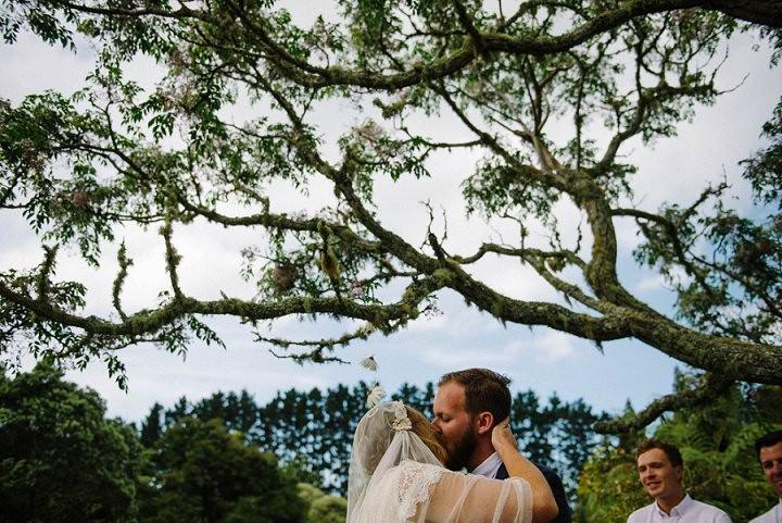 Bohemain New Zealand kissing Beach Wedding By Vignoto Photo