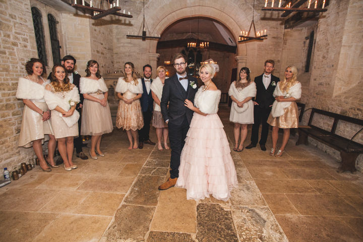 Liz and Nick's Rustic New Years Eve bridal party Farm Wedding
