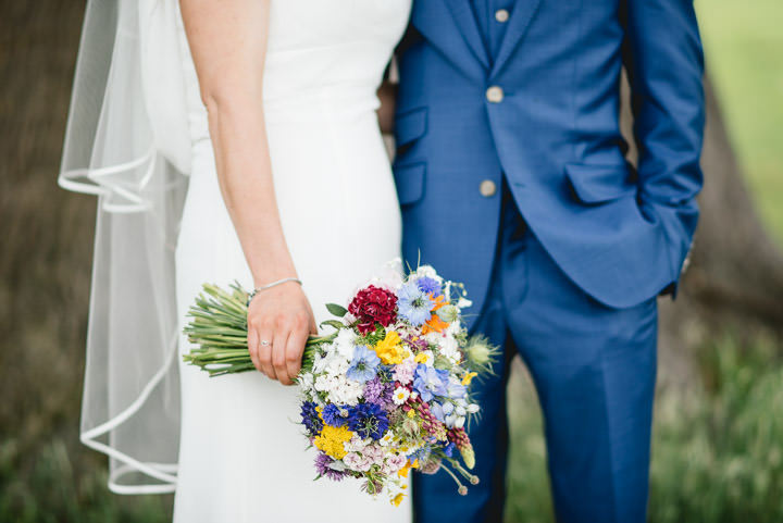 Blackthorpe Barn Wedding colourful bouquet By Benjamin Mathers Photography