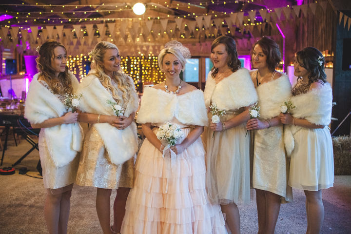 Liz and Nick's Rustic New Years Eve bridal party Farm Wedding By Will Reddaway Photography