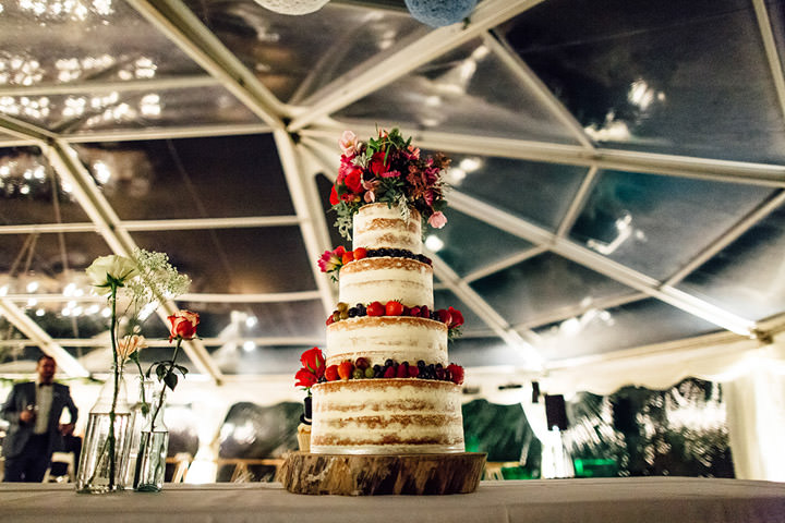 Wedding at Kilminorth Cottages naked cake in Looe By Freckle Photography