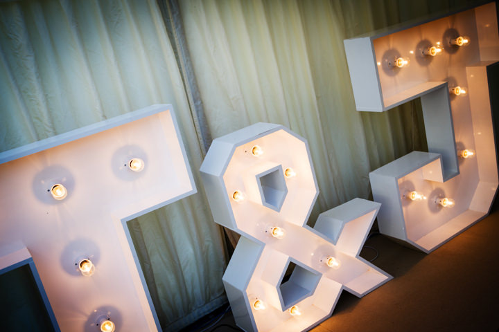 Somerset Wedding light up letters at Widcombe Grange By Raw Silk Photography