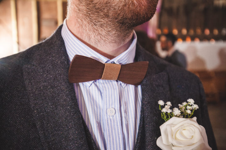 Liz and Nick's Rustic New Years Eve Farm Wedding wooden bow tie